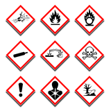 New COSHH symbols, CLP Hazard Pictograms, Serious Health Hazard, Explosive, Flammable, Oxidising, Corrosive, Environment, Toxic, Gas under pressure, Poison